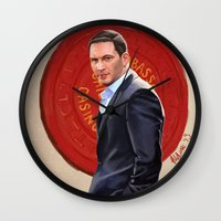 eames Wall Clocks featuring Inception - Mr Eames by Mel Hampson
