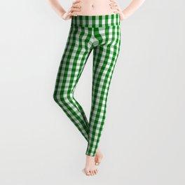 Mini Christmas Green Gingham Check on Snow White Leggings