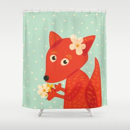 Cute Fox And Flowers Shower Curtain