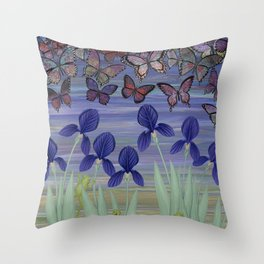 midnight frogs with irises and butterflies Throw Pillow