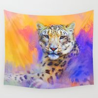 snow leopard Wall Tapestries featuring Colorful Expressions Snow Leopard by Jai Johnson