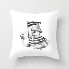 Duck War (Black and White) Throw Pillow