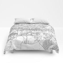 Johannesburg White Map Comforters