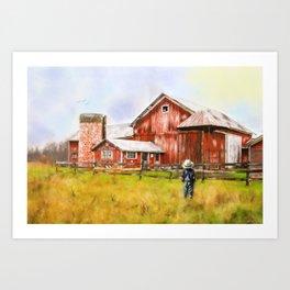 Little Boy on the Farm Art Print