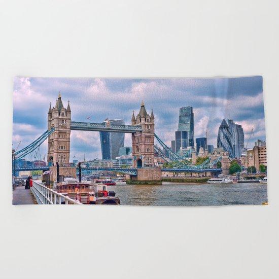 London Tower Bridge Blue Beach Towel