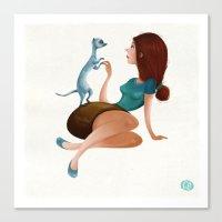 ferret Canvas Prints featuring Ferret Love by Caroline Born