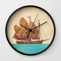 wesley bird Wall Clocks featuring Winged Odyssey by Terry Fan