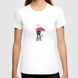 Cat in the rain with Umbrella T-shirt