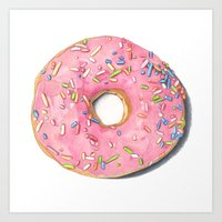 donut Art Prints featuring Donut by Hannah Catherine