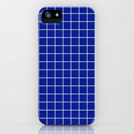 Indigo dye - blue color - White Lines Grid Pattern iPhone Case