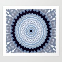 Lovely Healing Mandala  in Brilliant Colors: Black Blue, Gray and White Art Print