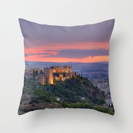 The alhambra and Granada city at sunset Throw Pillow