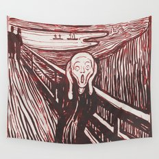 The Scream's Haze (red) Wall Tapestry