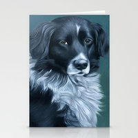 border collie Stationery Cards featuring Border Collie by MMGoldenArt