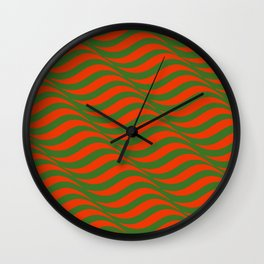 Red and Green Waves Wall Clock
