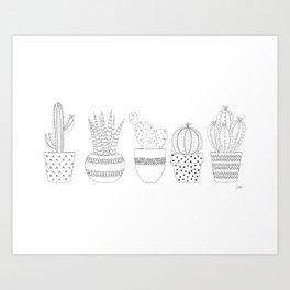 Cactus Sketch Art Print