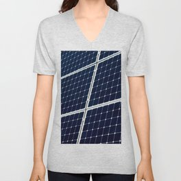 Image Of A Photovoltaic Solar Battery. Free Clean Energy For Everyone Unisex V-Neck