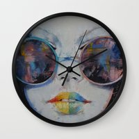 asia Wall Clocks featuring Asia by Michael Creese