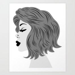 Female profile Art Print