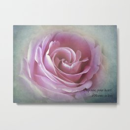 A Rose in the Heart of a Rose Metal Print