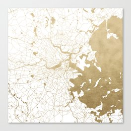 Boston White and Gold Map Canvas Print