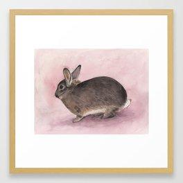 Mini Bunny Rabbit, Nursery Watercolor Framed Art Print