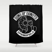 simpsons Shower Curtains featuring Sons Of Donuts / Simpsons / Donuts (BW version) by Adrien ADN Noterdaem