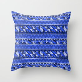 Latin American Pattern Blue. Zigzag Squares Triangle Patterns. Mexican Art. Funky Throw Pillow