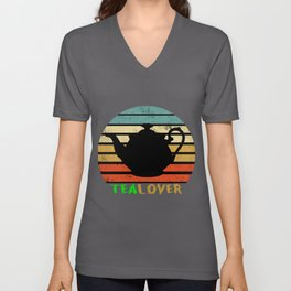 Tea-Lover Cup Healthy Drink Leaves Herbal-Tea Gift Unisex V-Neck