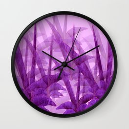 Violet Garden Succulent Plants On A Pink Background #decor #society6 #homedecor Wall Clock
