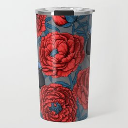 Peonies and wrens Travel Mug