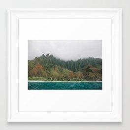 the cathedrals in fog, kauai, hawaii  Framed Art Print