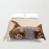 doberman Duvet Covers featuring Creeper Of My Soul by Paw Prints By Jamie