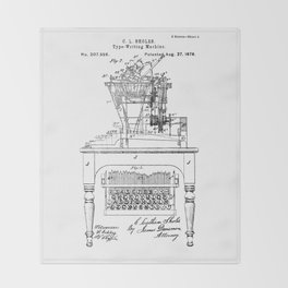 QWERTY Typewriter: Christopher Latham Sholes QWERTY Typewriter Patent Throw Blanket