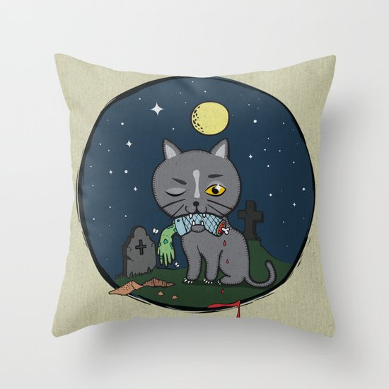 Cats love zombie meat! Throw Pillow