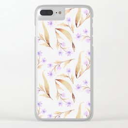 Watercolor lilac lavender brown hand painted floral illustration Clear iPhone Case