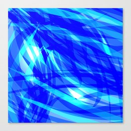 Vector glowing water background made of blue sea lines. Canvas Print