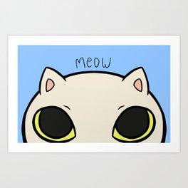 Meow - Blue Art Print