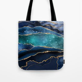 Blue Night Galaxy Marble Tote Bag
