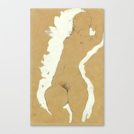"Egon Schiele ""Female Nude with White Border"" Canvas Print"