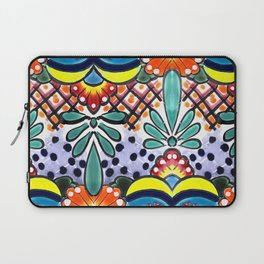 Colorful Talavera, Yellow Accent, Large, Mexican Tile Design Laptop Sleeve