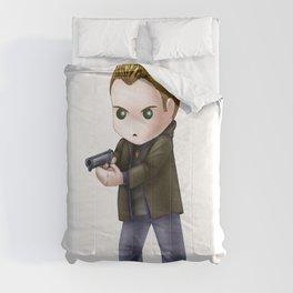 Chibi Dean Winchester (White BG) Comforters