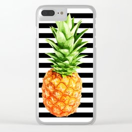 Pineapple, black stripes, kitchen poster, garden poster, Summer poster Clear iPhone Case