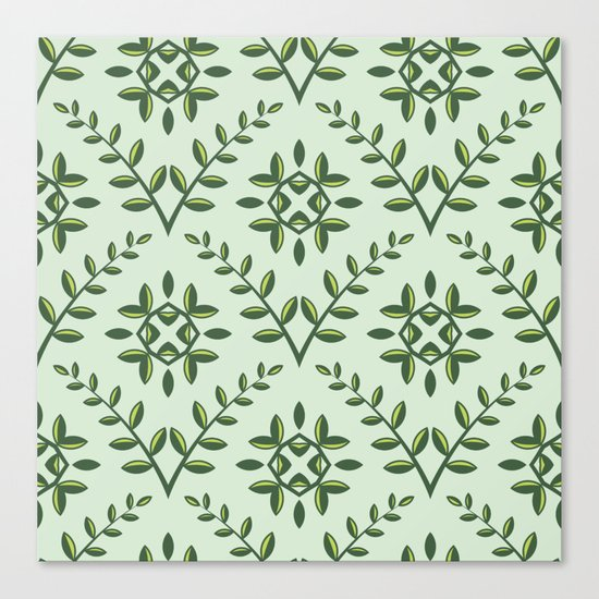 Green Olive Branch Pattern Canvas Print