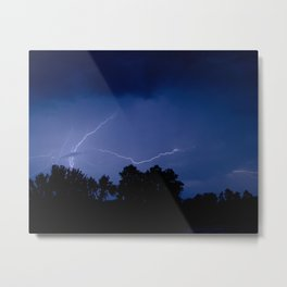 Lightning Over the Valley Nature Night Photograph Metal Print