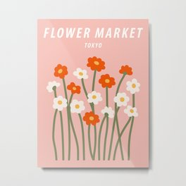 Flower market poster, Tokyo, Chamomile, Daisy art print, Cute pink flowers, Posters aesthetic, Floral art Metal Print