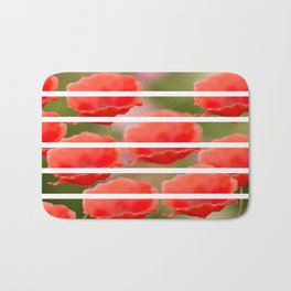 Poppies with white stripes #decor #society6 Bath Mat