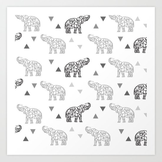 Elephant Pattern Art Print