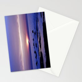 Blue and Purple Sunset on the Sea Stationery Cards