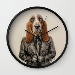 dog in leather Wall Clock